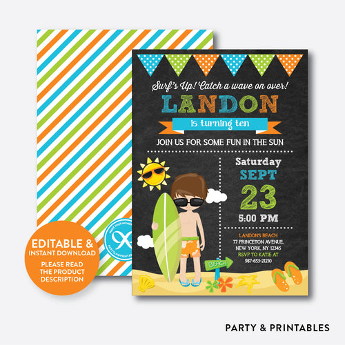Surfing Chalkboard Kids Birthday Invitation / Editable / Instant Download (CKB.390)