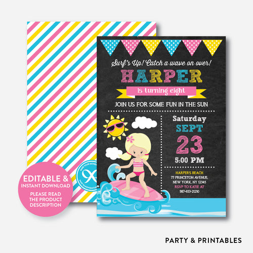 Surfing Chalkboard Kids Birthday Invitation / Editable / Instant Download (CKB.391B)