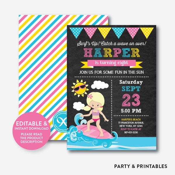 Surfing Chalkboard Kids Birthday Invitation / Editable / Instant Download (CKB.391B), invitation - Party and Printables