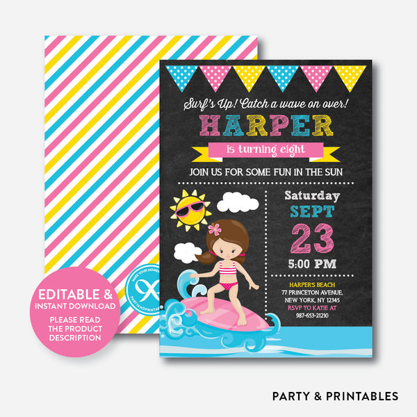 Surfing Chalkboard Kids Birthday Invitation / Editable / Instant Download (CKB.391), invitation - Party and Printables