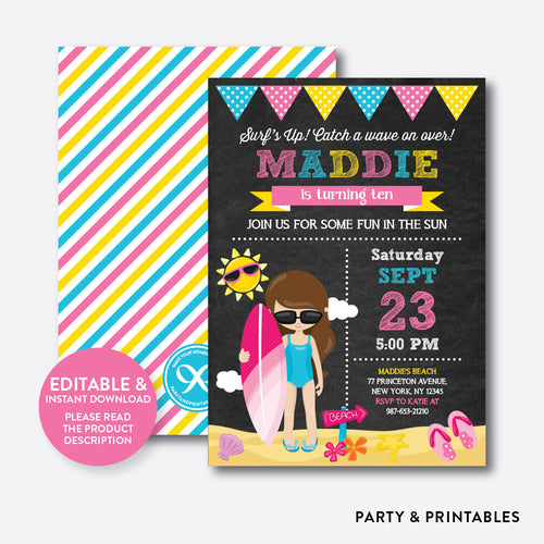 Surfing Chalkboard Kids Birthday Invitation / Editable / Instant Download (CKB.393)