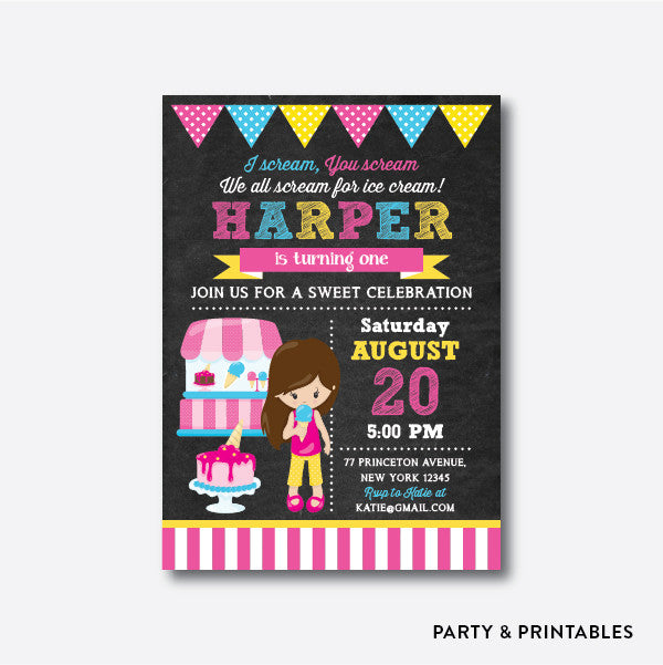 Summer Ice Cream Girl Chalkboard Kids Birthday Invitation / Personalized (CKB.394), invitation - Party and Printables