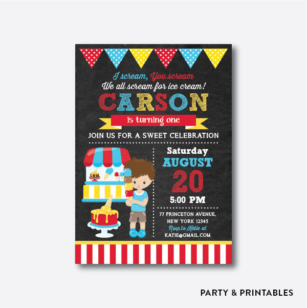 Summer Ice Cream Boy Chalkboard Kids Birthday Invitation / Personalized (CKB.395), invitation - Party and Printables