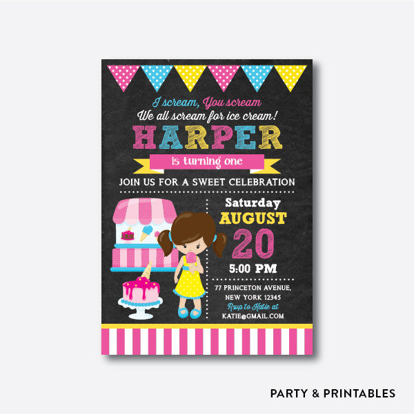 Summer Ice Cream Girl Chalkboard Kids Birthday Invitation / Personalized (CKB.396), invitation - Party and Printables