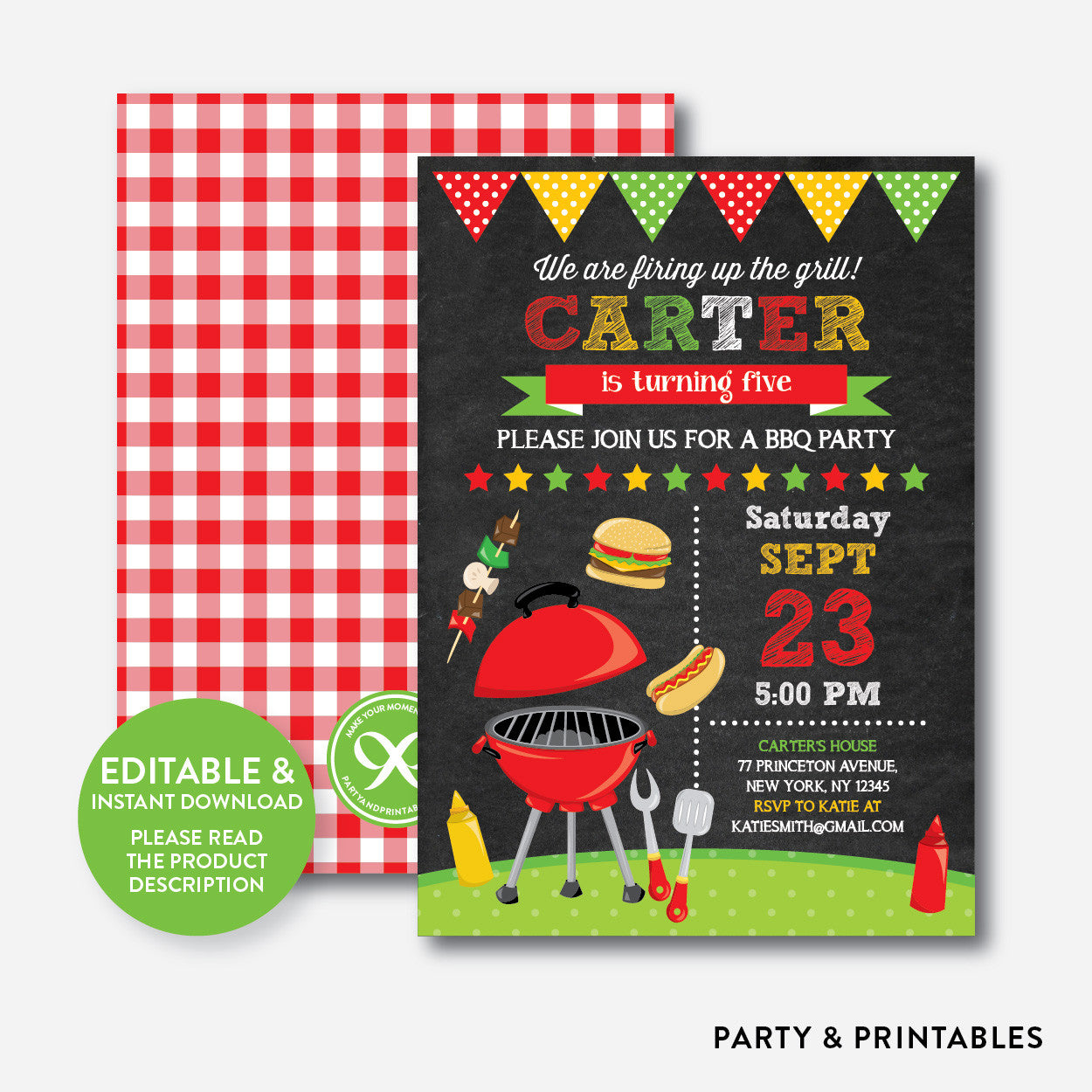 Backyard BBQ Chalkboard Kids Birthday Invitation / Editable ...