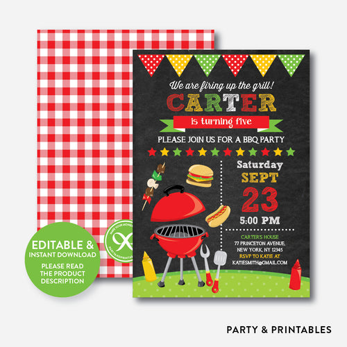 Backyard BBQ Chalkboard Kids Birthday Invitation / Editable / Instant Download (CKB.398)