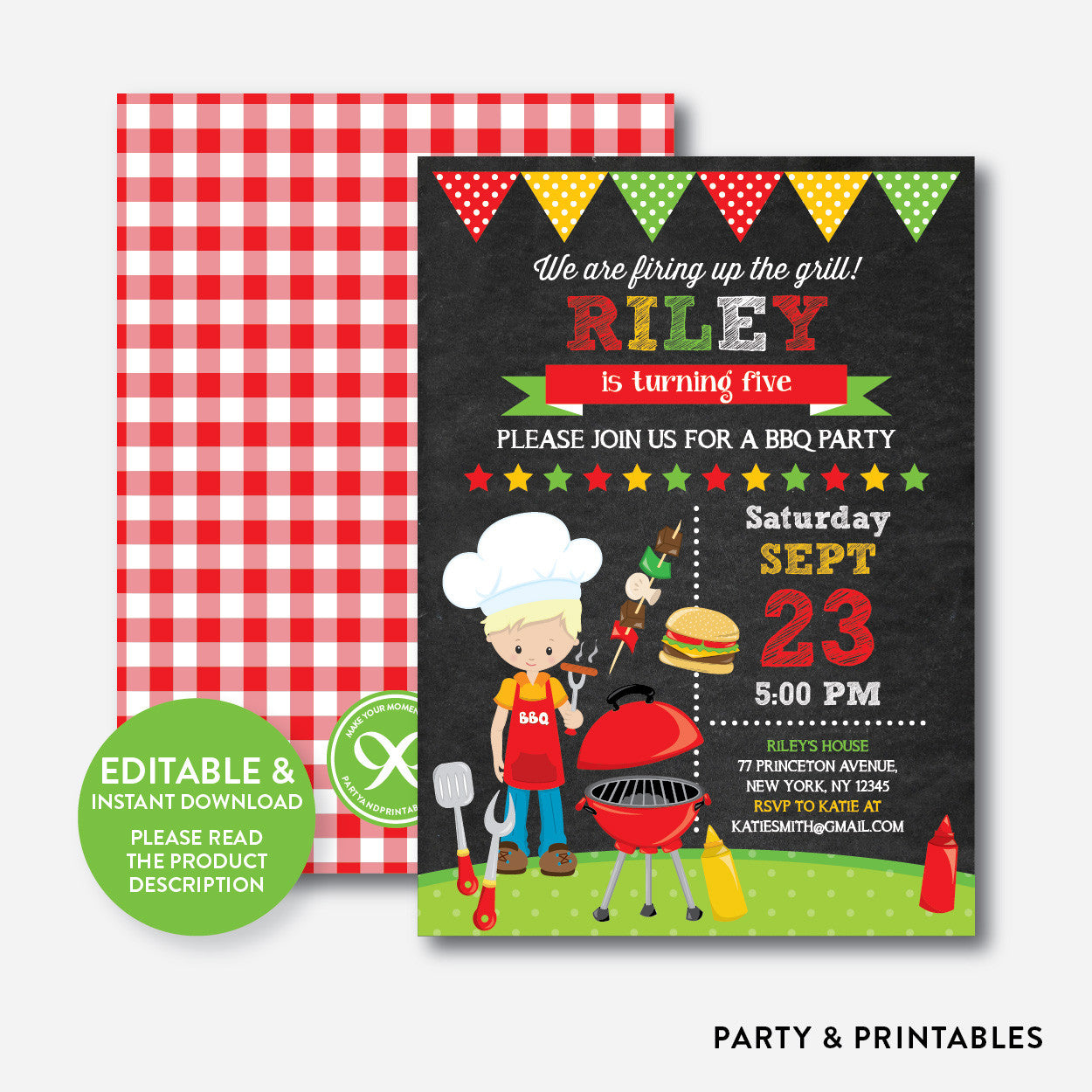 BBQ Chalkboard Kids Birthday Invitation / Editable / Instant Download (CKB.399B), invitation - Party and Printables