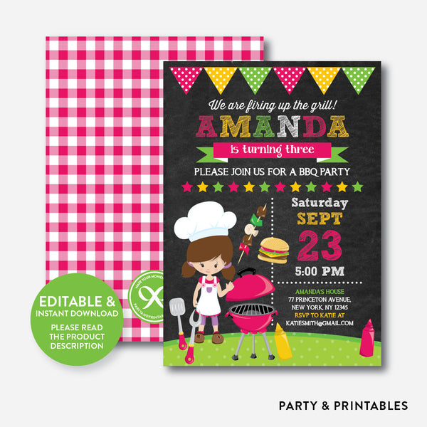 BBQ Chalkboard Kids Birthday Invitation / Editable / Instant Download (CKB.400), invitation - Party and Printables