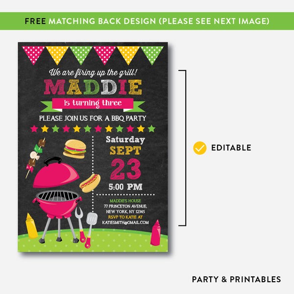 BBQ Chalkboard Kids Birthday Invitation / Editable / Instant Download (CKB.401), invitation - Party and Printables
