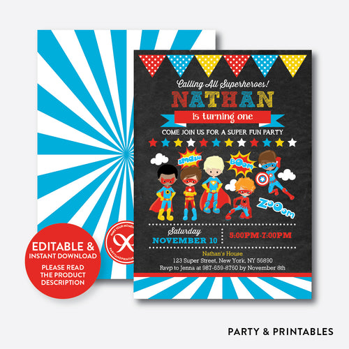 Superhero Chalkboard Kids Birthday Invitation / Editable / Instant Download (CKB.402)
