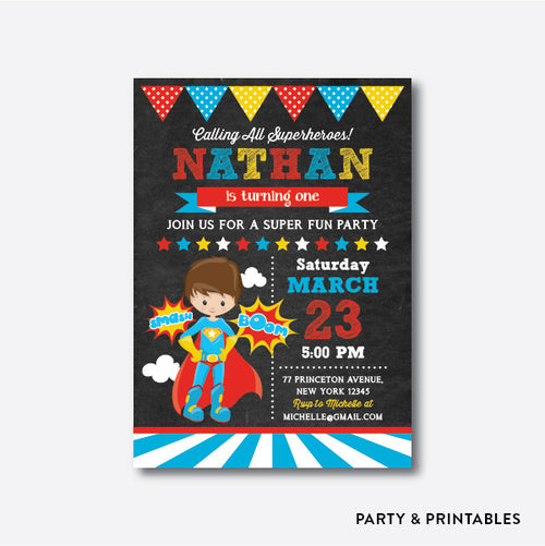 Superhero Boy Chalkboard Kids Birthday Invitation / Personalized (CKB.403)