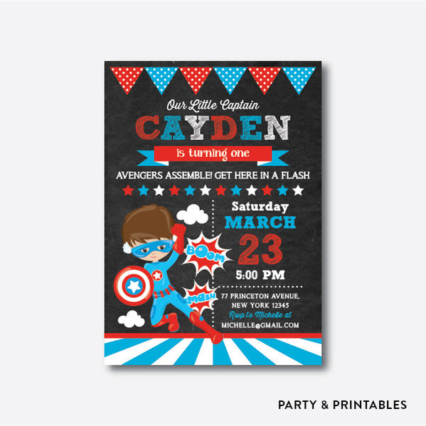 Captain America Chalkboard Kids Birthday Invitation / Personalized (CKB.404), invitation - Party and Printables