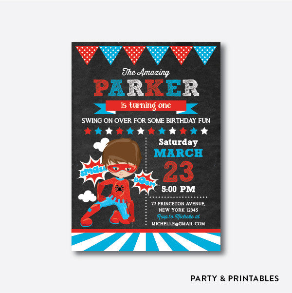 Spiderman Chalkboard Kids Birthday Invitation / Personalized (CKB.405), invitation - Party and Printables