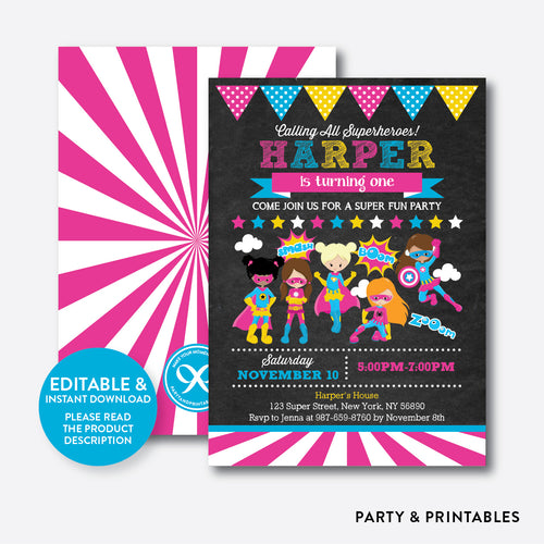 Superhero Chalkboard Kids Birthday Invitation / Editable / Instant Download (CKB.408)
