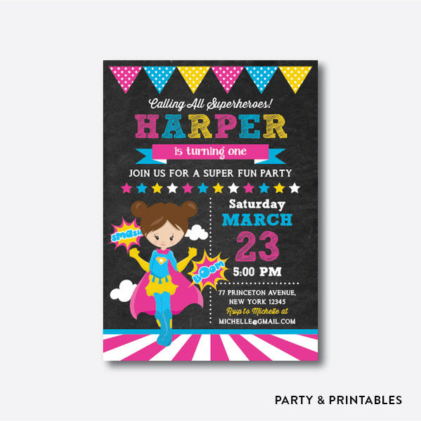 Superhero Girl Chalkboard Kids Birthday Invitation / Personalized (CKB.409), invitation - Party and Printables