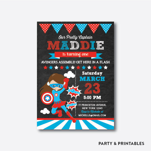 Captain America Girl Chalkboard Kids Birthday Invitation / Personalized (CKB.410), invitation - Party and Printables