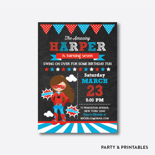 Spider Girl Chalkboard Kids Birthday Invitation / Personalized (CKB.411)