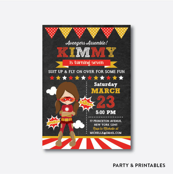 Iron Girl Chalkboard Kids Birthday Invitation / Personalized (CKB.412), invitation - Party and Printables