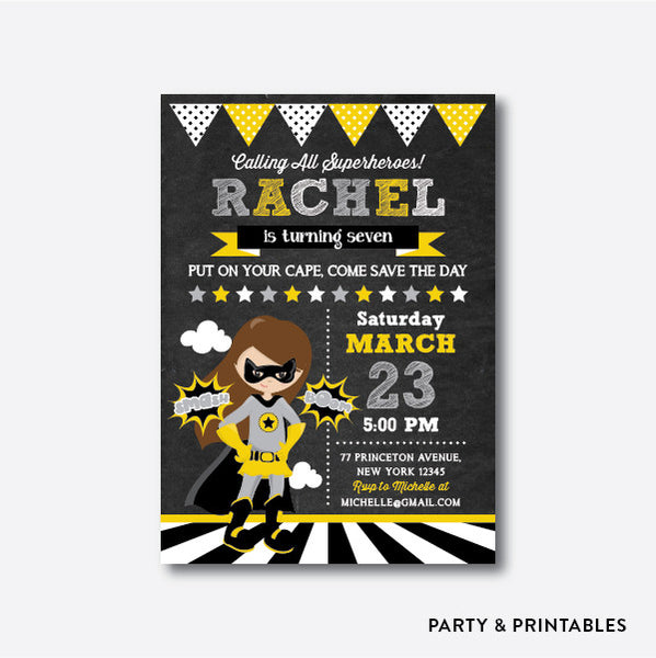 Batgirl Chalkboard Kids Birthday Invitation / Personalized (CKB.413), invitation - Party and Printables