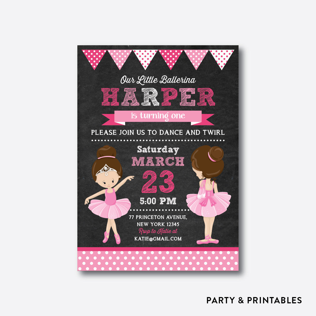 Ballet Chalkboard Kids Birthday Invitation / Personalized (CKB.414), invitation - Party and Printables