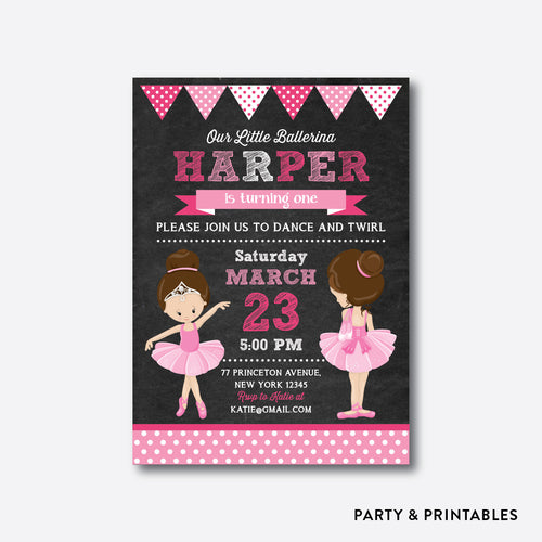 Ballet Chalkboard Kids Birthday Invitation / Personalized (CKB.414)