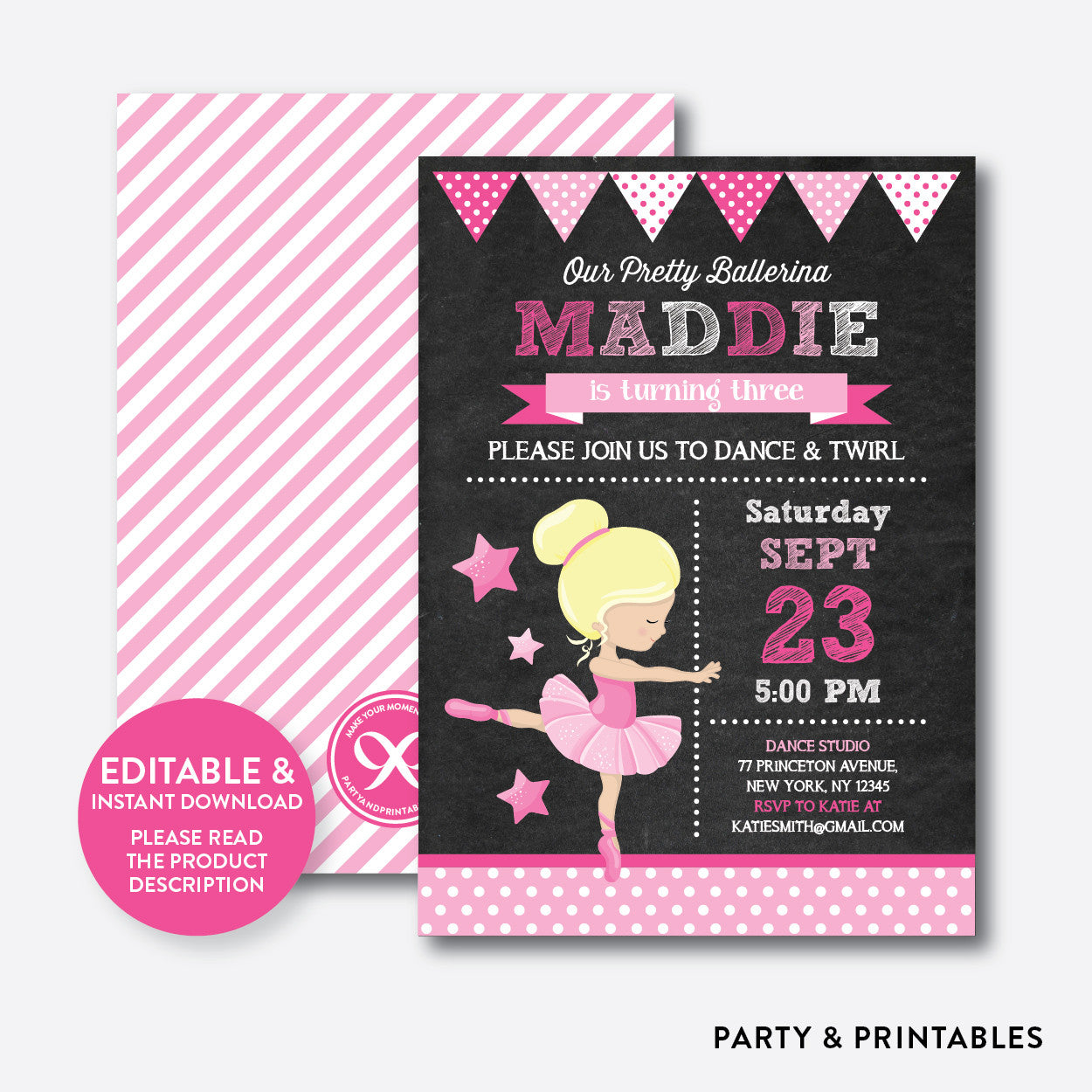 Ballet Chalkboard Kids Birthday Invitation / Editable / Instant Download (CKB.415B), invitation - Party and Printables