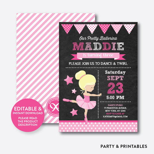 Ballet Chalkboard Kids Birthday Invitation / Editable / Instant Download (CKB.415B)