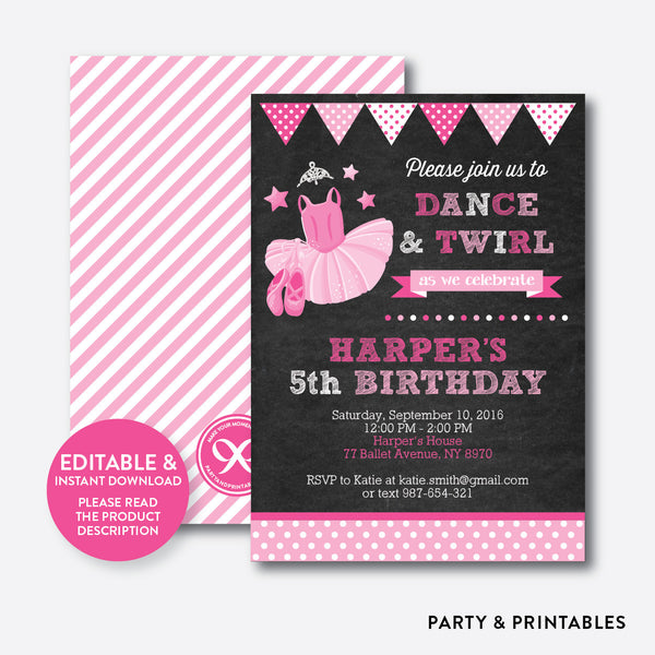 Ballet Chalkboard Kids Birthday Invitation / Editable / Instant Download (CKB.416), invitation - Party and Printables