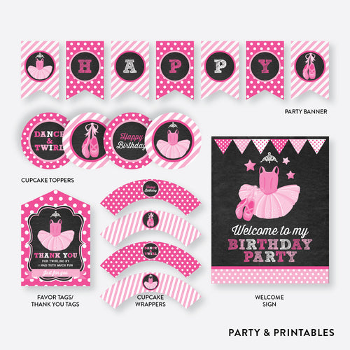 Ballet Chalkboard Standard Kids Birthday Party Package / Non-Personalized / Instant Download (CKB.416)