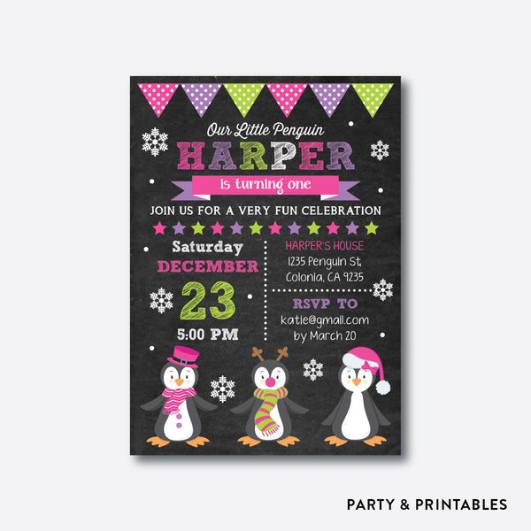 Holiday Penguins Pink Chalkboard Kids Birthday Invitation / Personalized (CKB.418), invitation - Party and Printables