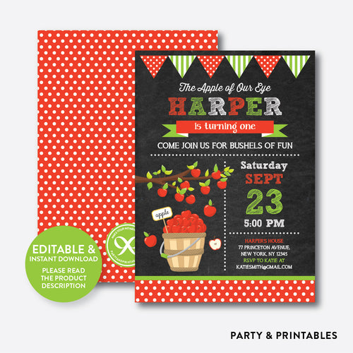 Apple of Our Eyes Chalkboard Kids Birthday Invitation / Editable / Instant Download (CKB.419)
