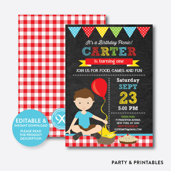 Picnic Chalkboard Kids Birthday Invitation / Editable / Instant Download (CKB.41), invitation - Party and Printables