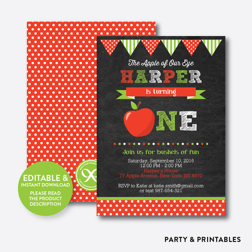 Apple of Our Eyes Chalkboard 1st Birthday Invitation / Editable / Instant Download (CKB.420)