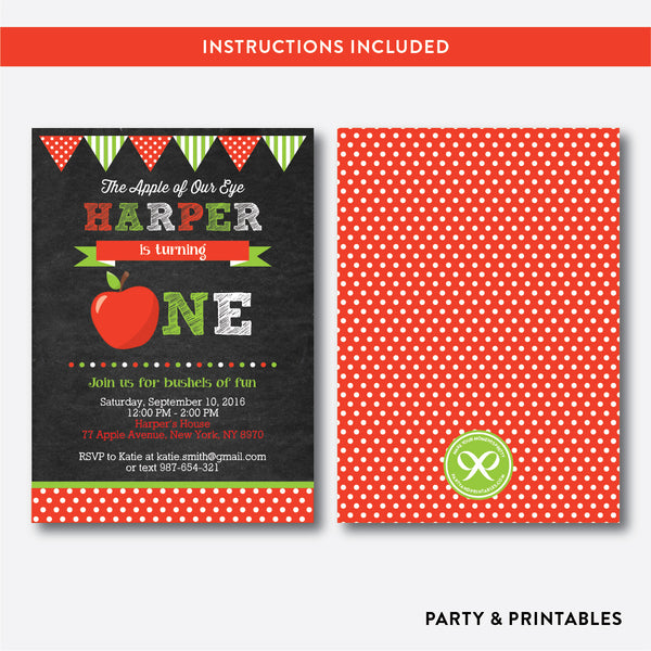 Apple of Our Eyes Chalkboard 1st Birthday Invitation / Editable / Instant Download (CKB.420), invitation - Party and Printables