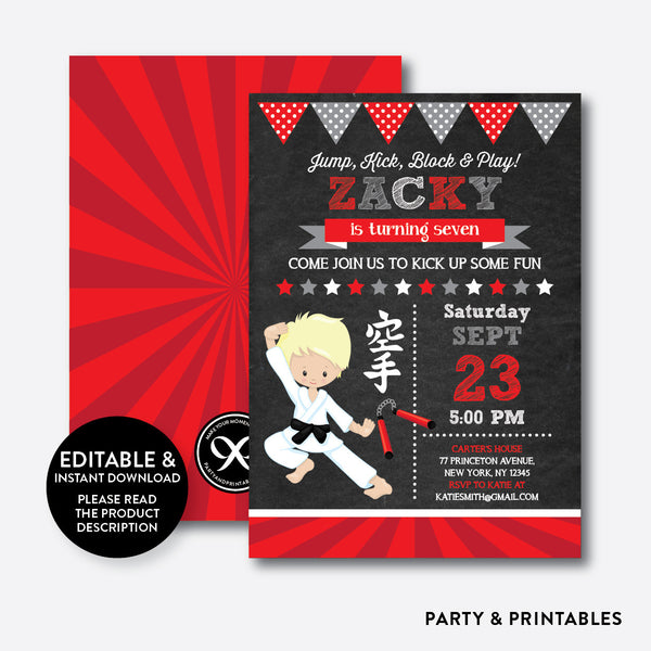 Karate Chalkboard Kids Birthday Invitation / Editable / Instant Download (CKB.427B), invitation - Party and Printables