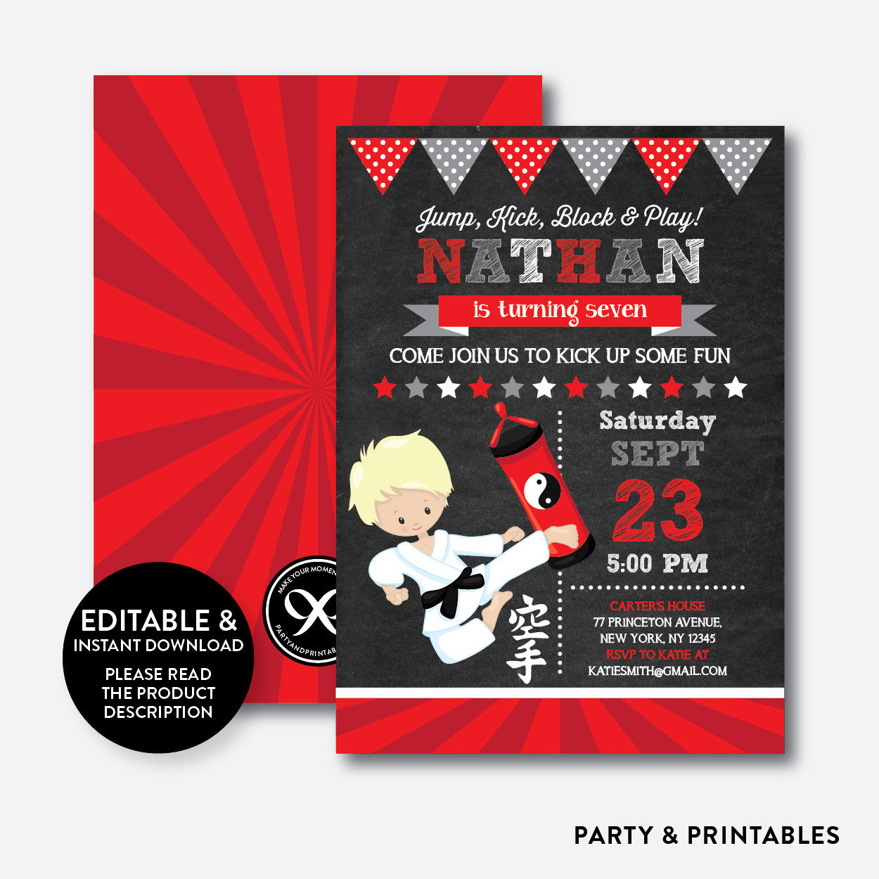 Karate Chalkboard Kids Birthday Invitation / Editable / Instant ...