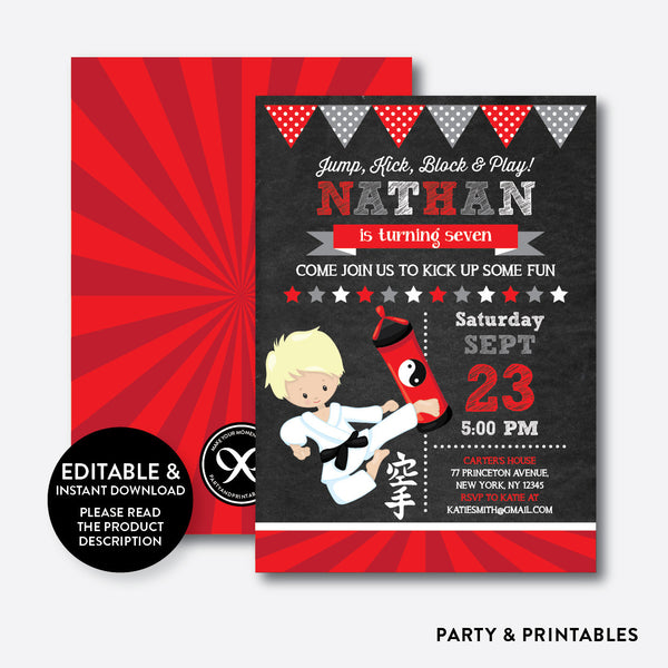 Karate Chalkboard Kids Birthday Invitation / Editable / Instant Download (CKB.428B), invitation - Party and Printables