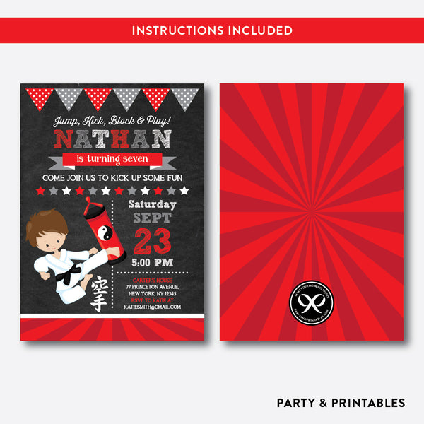 Karate Chalkboard Kids Birthday Invitation / Editable / Instant Download (CKB.428), invitation - Party and Printables