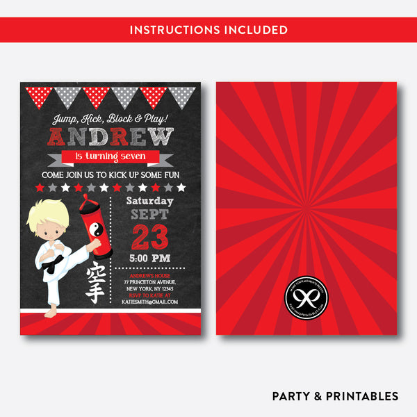 Karate Chalkboard Kids Birthday Invitation / Editable / Instant Download (CKB.429B), invitation - Party and Printables