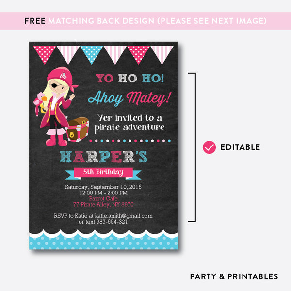 Pirate Chalkboard Kids Birthday Invitation / Editable / Instant Download (CKB.42B), invitation - Party and Printables
