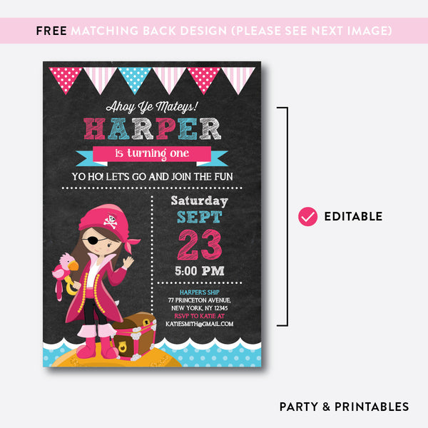 Pirate Chalkboard Kids Birthday Invitation / Editable / Instant Download (CKB.42C), invitation - Party and Printables