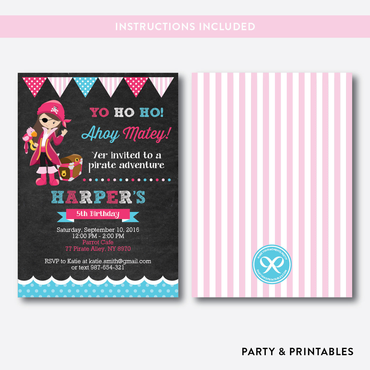 Pirate Chalkboard Kids Birthday Invitation / Editable / Instant Download (CKB.42), invitation - Party and Printables