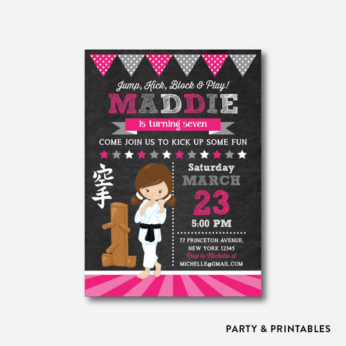 Karate Girl Chalkboard Kids Birthday Invitation / Personalized (CKB.431)