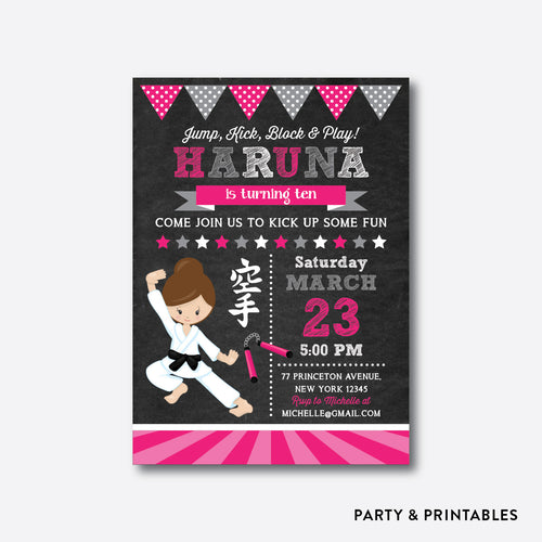 Karate Girl Chalkboard Kids Birthday Invitation / Personalized (CKB.432)