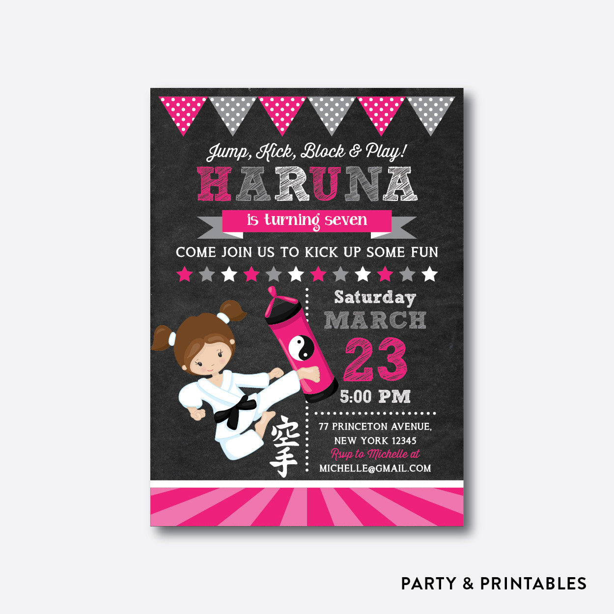 Karate Girl Chalkboard Kids Birthday Invitation / Personalized (CKB.433)