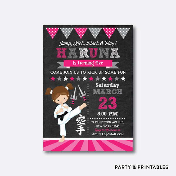 Karate Girl Chalkboard Kids Birthday Invitation / Personalized (CKB.434), invitation - Party and Printables