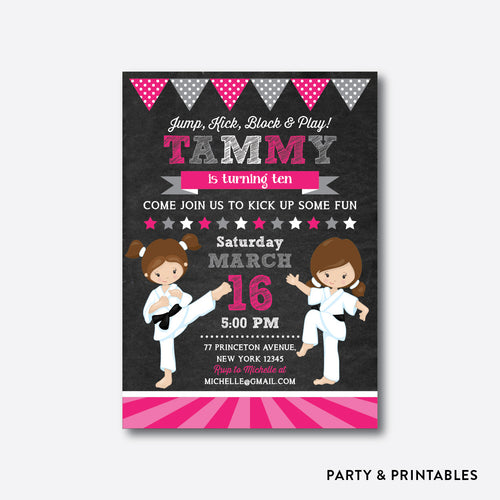 Karate Girls Chalkboard Kids Birthday Invitation / Personalized (CKB.435)