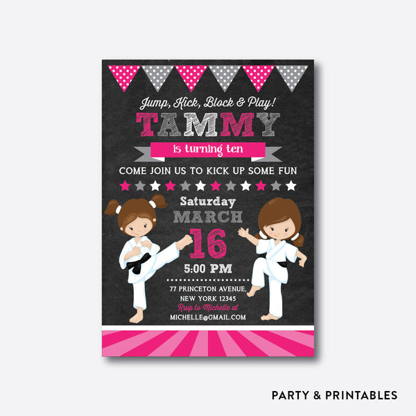 Karate Girls Chalkboard Kids Birthday Invitation / Personalized (CKB.435), invitation - Party and Printables