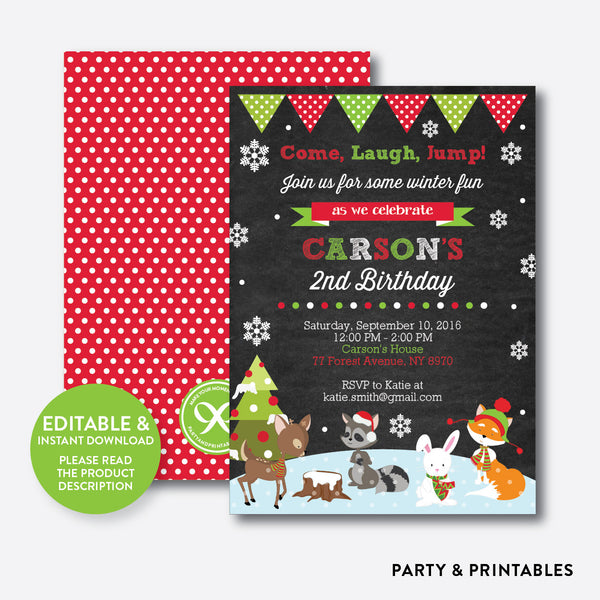 Winter Woodland Chalkboard Kids Birthday Invitation / Editable / Instant Download (CKB.438), invitation - Party and Printables