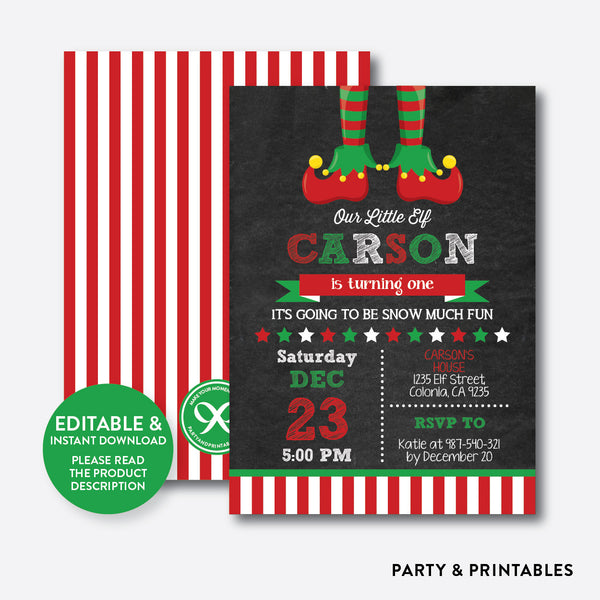 Christmas Elf Chalkboard Kids Birthday Invitation / Editable / Instant Download (CKB.440), invitation - Party and Printables